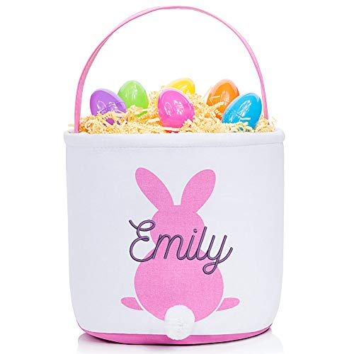 Personalized Easter Basket (Pink) - Embroidered Soft Custom Easter Bucket