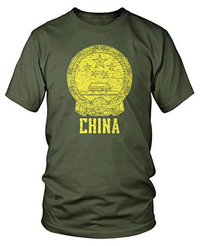 Amdesco Men's Coat of Arms of China, Chinese Coat of Arms T-Shirt, Moss Green -