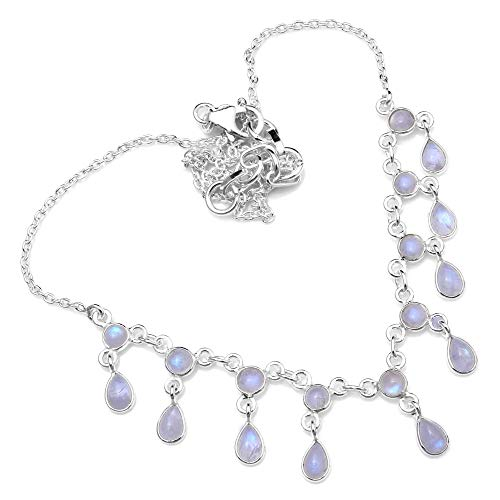 Silver Palace Sterling Silver Natural Rainbow Moonstone Necklace for Women and Girls