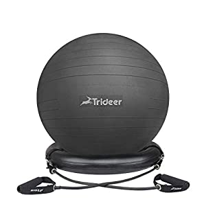 Trideer Exercise Ball Chair, Stability Ball with Ring & Pump, Flexible Seating, Improves Balance, Core Strength & Posture (Office & Home & Classroom) from Trideer