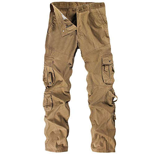 (Jiayit Men's Men Cargo Work Pants Hiking Sport Holiday Cotton Multi-Pocket Overalls Outdoor Workwear Leisure Pants Cotton Trousers (38, Khaki))