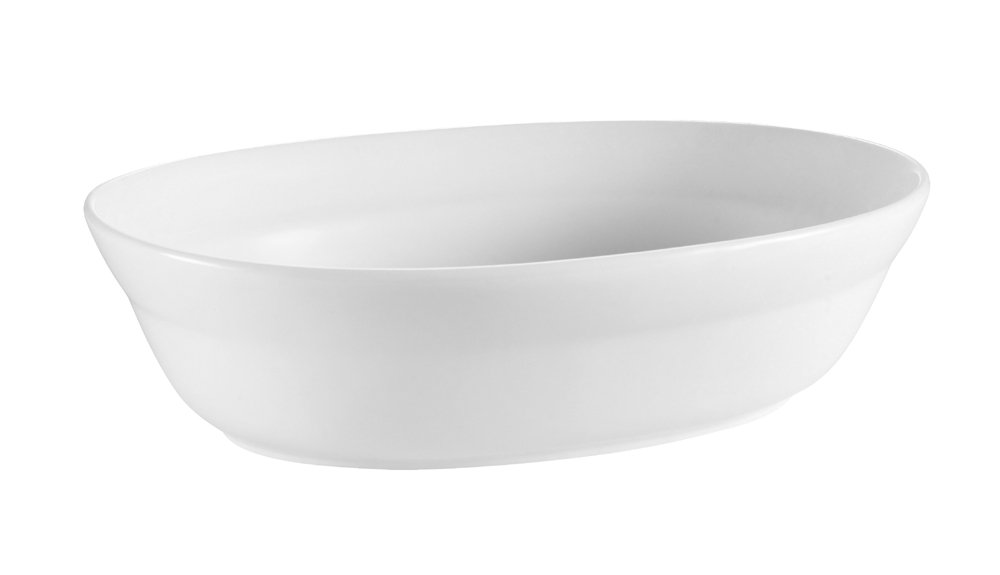 CAC China RCN-VB12 Clinton Rolled Edge 12 by 8-5/8 by 3-1/8-Inch Porcelain Oval Bowl, 2.75-Quart, Super White, Box of 12
