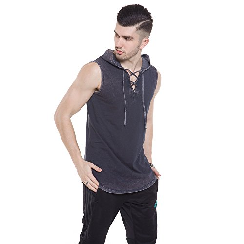YANWENFANG Men's Sleeveless T-Shirt Hoodie Fashion Lace up V Neck Black Hipster Tank ()