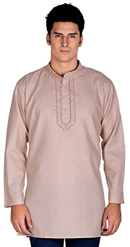 Maple Clothing Indian Clothing Fashion Shirt Embroidered Mens Short Kurta Cotton India Dress