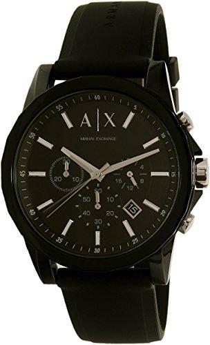 A|X Armani Exchange Men's Silvertone Black Nylon With Silicone Straps - Black Armani Exchange