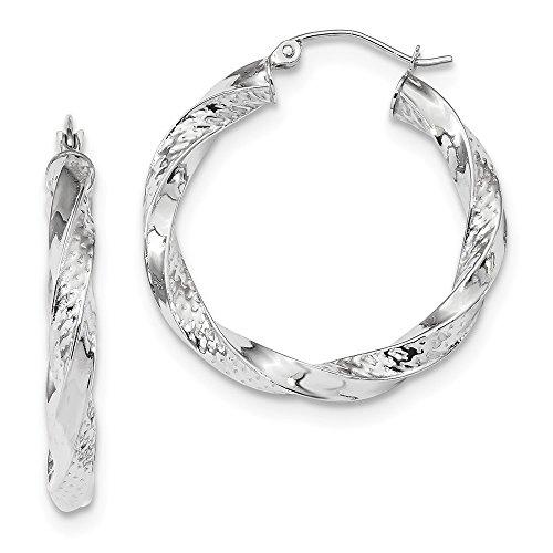 Mia Diamonds 14k White Gold Polished and Diamond-Cut Twist Hoop Earrings