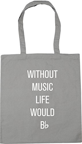 HippoWarehouse without music life would be flat Tote Shopping Gym Beach Bag 42cm x38cm, 10 litres Light Grey