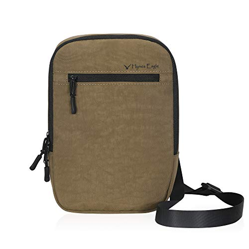 Hynes Eagle Unisex Small Crossbody Bag Multipurpose Travel Pouch Khaki