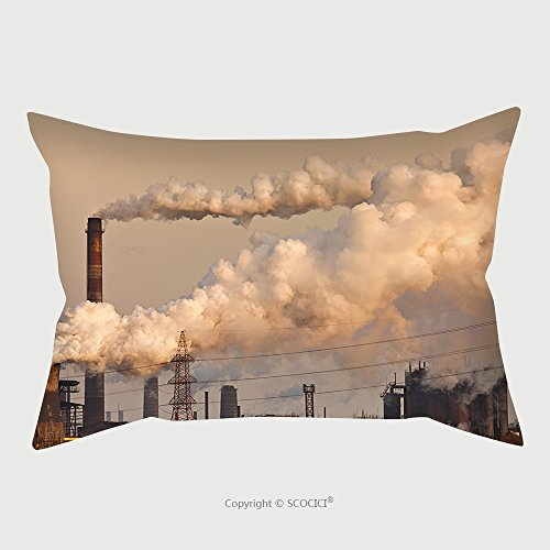 Custom Microfiber Pillowcase Protector Chemical Factory With Smoke Stack 93836461 Pillow Case Covers Decorative