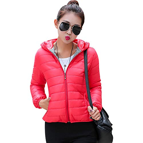 Red Jackets Warm Overcoat Hooded Fit Up Ladies Fashion Short Women Down Jacket YIHIGH Zip Winter Coats Thicken Outwear Slim vwanUqUX
