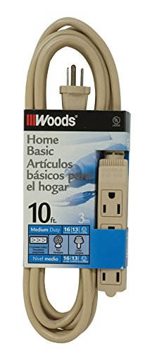 Woods 2865 SJT 3-Outlet Extension Cord, Beige