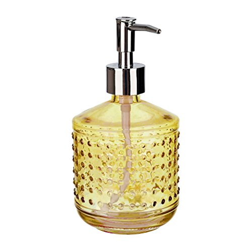 Rail19 Hobnail Gold Glass Liquid Hand Soap Dispenser Pump for The Kitchen and Bathroom Sink - Great for Dish Soap, Hand Soap and Hand Lotion + Essential Oils and Bath Products (Gold-Yellow)
