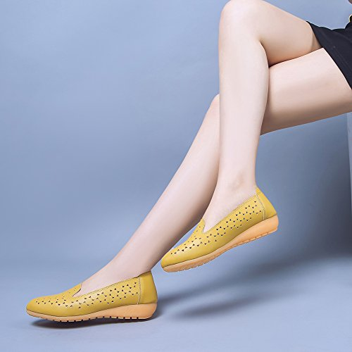 Low Top on Sterne Muster Cut Damen Aisun Gelb Basic Slippers Hollow Slip Flach n4qZwYO