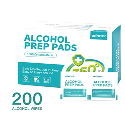 Winner Sterile Alcohol Prep Pads,Medium 4-Ply - 200 Alcohol Wipes (2.36