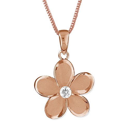 Mm Plumeria 15 Pendant (14kt Rose Gold Plated Sterling Silver 15mm Plumeria Pendant Necklace, 16+2