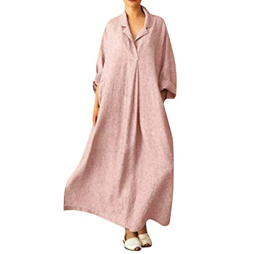 lenglangO Women Casual Maxi Dresses Vintage Loose Long Sleeve Dress with Pockets ()