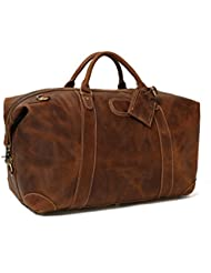 ROCKCOW Vintage Look Mens Leather Weekender Duffel Bag Luggage Holdall