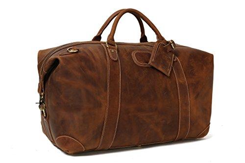 ROCKCOW Vintage Look Men's Leather Weekender Duffel Bag Luggage Holdall by ROCKCOW