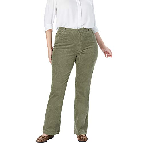 - Woman Within Women's Plus Size Stretch Corduroy Bootcut Jean - Olive Green, 20 W