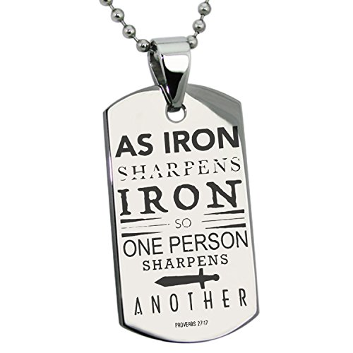 Stainless Steel As Iron Sharpens Iron Proverbs 27:17 Engraved Dog Tag Pendant Necklace -