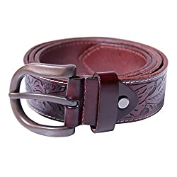 GSG Vintage Genuine Leather Belt Full Grain Leather with Carve Pattern 38 Coffee
