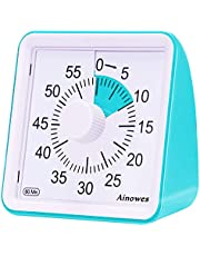 Ainowes Visual Timer, 60-Minute Silent Countdown Timer for Kids and Adults,Time Management Tool for Kitchen, Classroom,Self-Study, No Loud Ticking