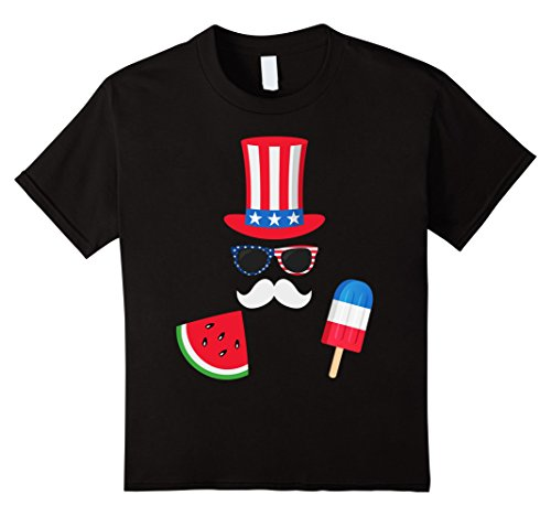 unisex-child Uncle Sam Costume Watermelon Ice Cream - 4th of July T-Shirt 6 (Young Uncle Sam Childrens Costumes)