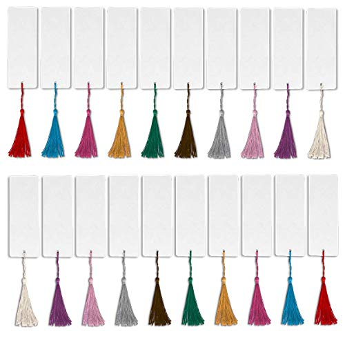 Craft Bookmark - Ancoo 144 Pcs Blank Bookmarks Cardstock with Tassels & Hole to Decorate for DIY Crafts,Gifts Tags,School Supply,Wedding Favor,White(72 Pcs Bookmarks and 72 Pcs Colorful Tassels)