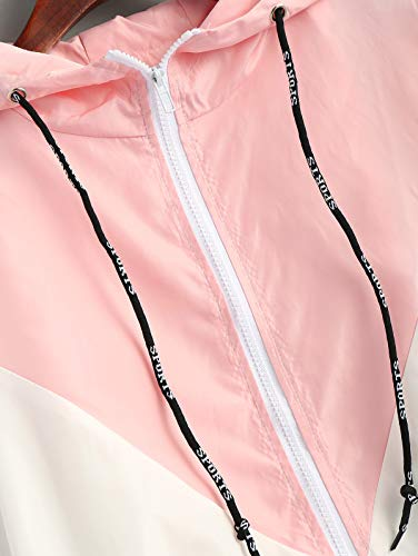 De Sudadera Bolsillo Larga Camisa Doble Con Tejido Cremallera Cordón Rosa Informal Patchwork Manga Capa Delantero Mujer Zaful Suelta Chaqueta qwCF8E7