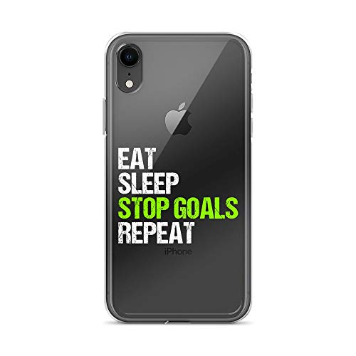iPhone XR Pure Clear Case Crystal Clear Cases Cover Eat Sleep Stop Goal Repeat Soccer Hockey Sport Goalie Transparent ()