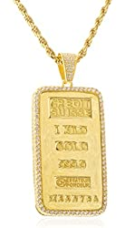 Real 925 Silver 'Goldtone Plated Bar' Pendant with Clear Cz Stones and a 3mm 24 Inch Rope Necklace