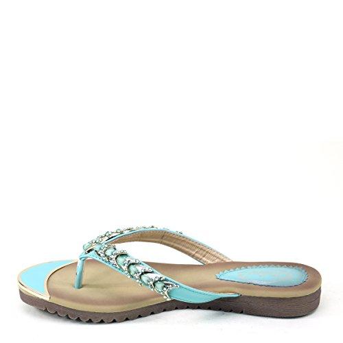 New Brieten Womens Cute Rhinstone Flip-flop Thong T-Strap Comfort Sole Slide Sandals Green hQV8Z
