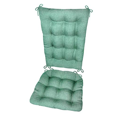 Rocking Chair Cushion Set - Hayden Turquoise - Size Extra-Large - Reversible, Latex Foam Filled Seat Pad and Back Rest (Solid Color Aqua, Presidential)