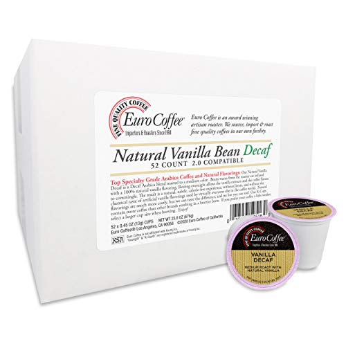 Euro Coffee Single-Serve Cups (Natural Vanilla Bean Decaf, 52 count)