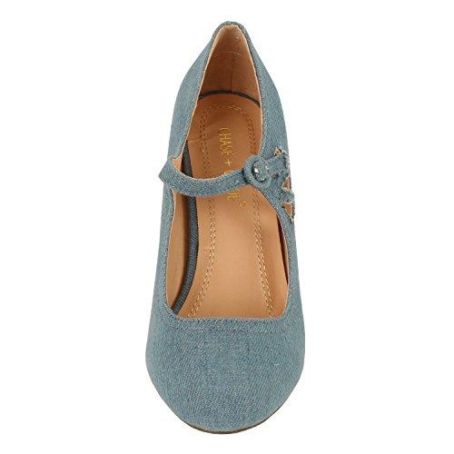 Chase & Chloé Femmes Kimmy-21 Régulière | Mary Jane | Mi-talon Chaussures Bleu Denim