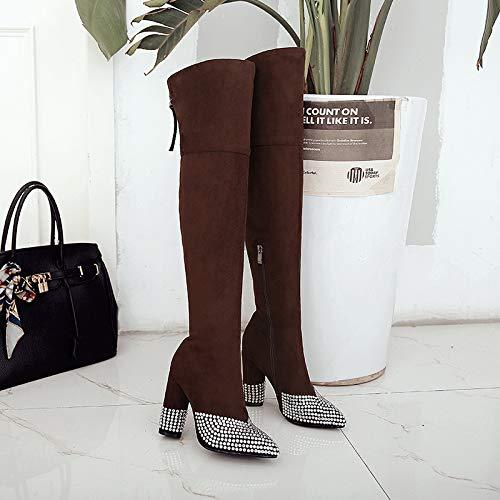 Sandalette-DEDE Zapatos para Mujer/Botas Botas a la Rodilla de Moda brown