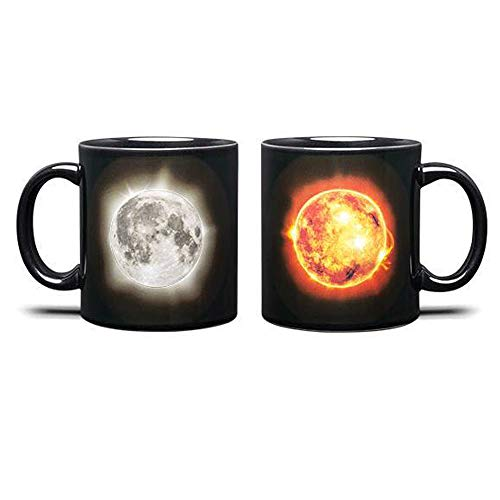 aliamary Funny Heat Sensitive Color Changing Ceramic Coffee Mug, 11oz Solar Lunar Eclipse Morning Coffee Mu (Solar Lunar Eclipse) ()