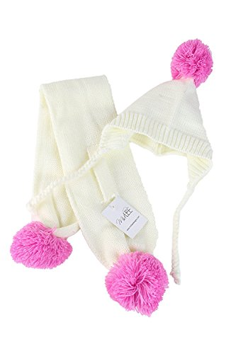 Small Cream & Pink Pom Pom Dog Hat & Scarf by Midlee by Midlee