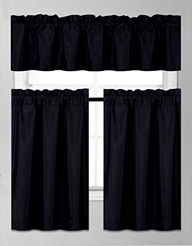 GorgeousHomeLinen (K3) 3 PC Kitchen Window Valance Tier Curtain Faux Silk Panels Solid Lined Thermal Blackout Drape Set (Black)