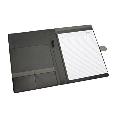 - NuVision Brown & Grey PU Leather Executive Padfolio with Magnetic Closure & Refillable Notepad, Durable Designer Briefcase Portfolio Folder with Pockets for Documents, Business Cards, Presentation