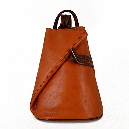 Bolso De Espalda En Piel Verdadera Para Mujer Con Tirantes En Cremallera Color Orange Brown - Peleteria Echa En Italia - Bolso Espalda