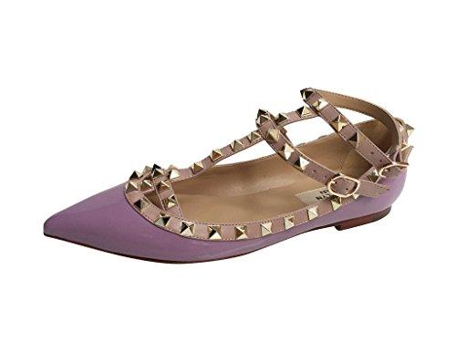Kaitlyn Pan - Spitzverzierte Strappy Caged Ballerina Leather Flats Lila Patent / Nude Trim / Gold Nieten