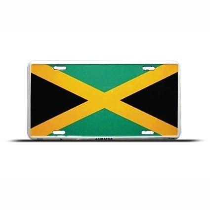 Jamaica Jamaican Flag Metal License Plate Sign Tag