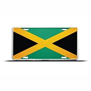 Jamaica Jamaican Flag Metal License Plate Sign Tag