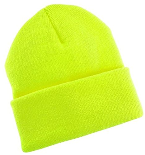 2040USA Unisex Plain 12 inch long Beanie - Many Colors (One Size, Neon Yellow)