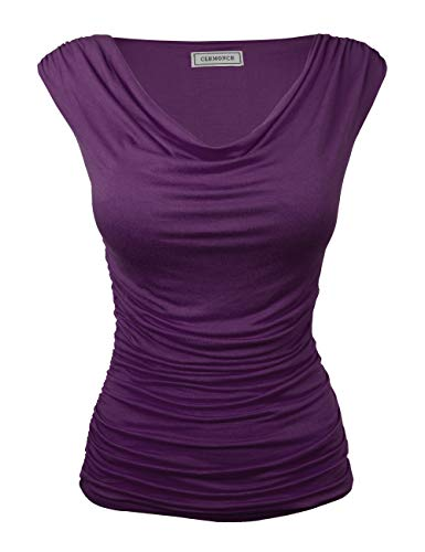 CLEMONCE Women's Cowl Neck Ruched Side Slim Fit Top Purple M