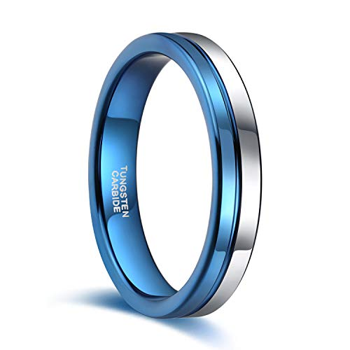 4mm Thin Tungsten Wedding Band for Men Women Two Tone Silver Blue Centre Groove Engagement Ring Size 4.5