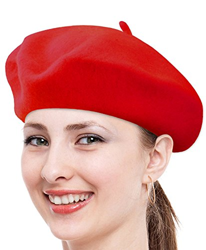 - Classic Solid Color Wool French Beret (Red)