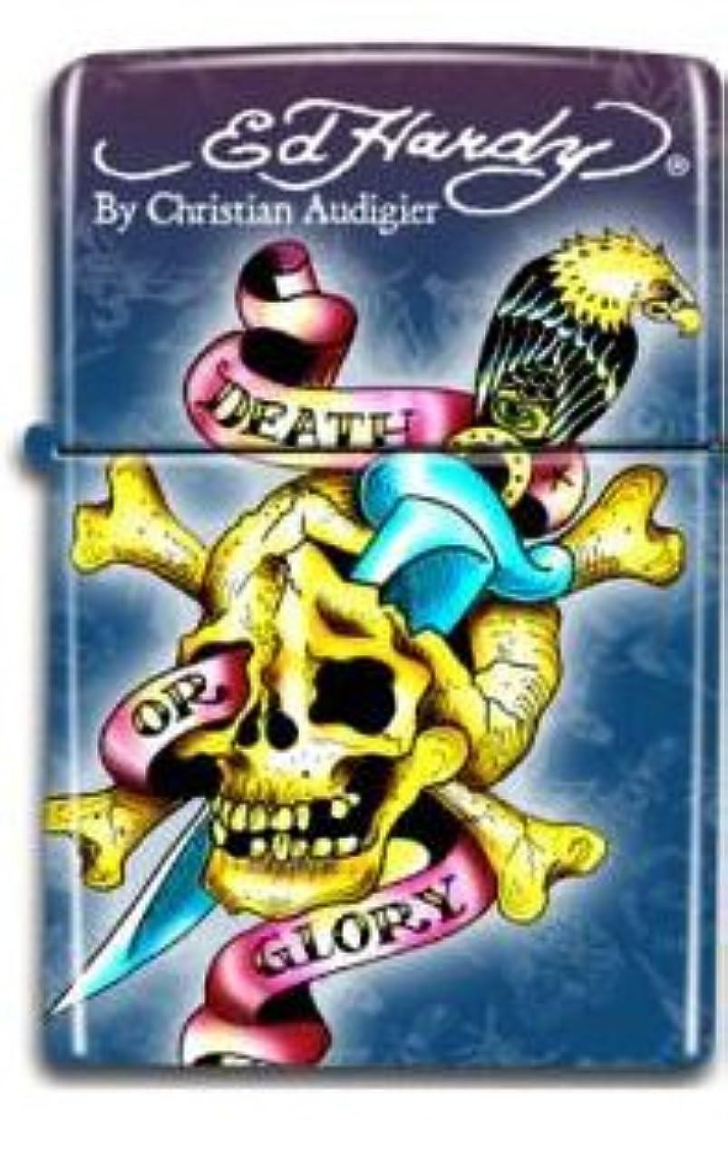 日曜日論争オートメーションEd Hardy エド ハーディー タトゥー柄 ダブルフレームテーブルガスライターSkull(DEATH OR GLORY)