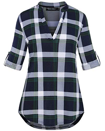 DILISHA Womens 3/4 Roll Sleeve Shirts Henleys V Neck Plaid Blouse Loose Tunic Tops (Green, XXL)